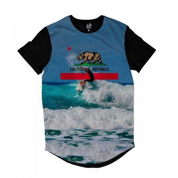 Camiseta Longline Long Beach California Onda Full Print Azul