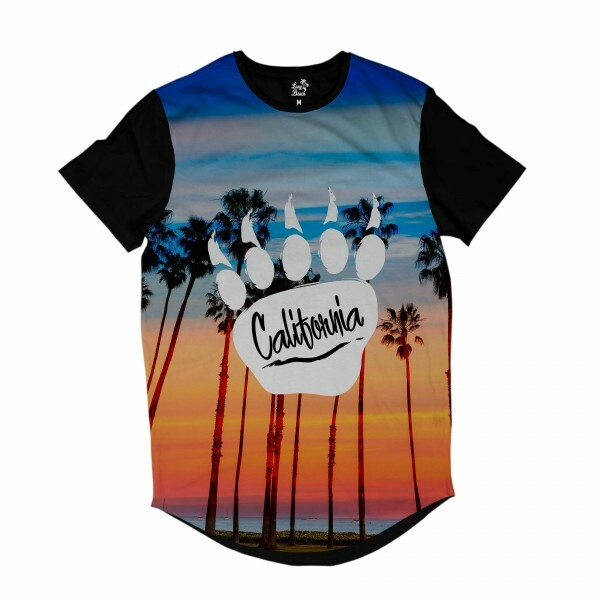 Camiseta Longline Long Beach Pegada de Urso Por do sol Full Print Azul