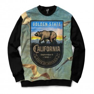 Moletom Gola Careca Long Beach California Gaivotas Full Print Azul