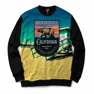 Moletom Gola Careca Long Beach California Venice Full Print Colors