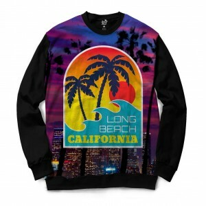 Moletom Gola Careca Long Beach California Purple Full Print Roxo Fosco