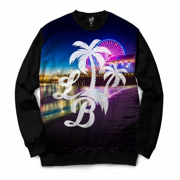 Moletom Gola Careca Long Beach LB Santa Monica Full Print Colors