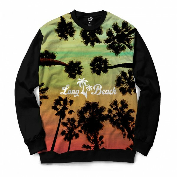 Moletom Gola Careca Long Beach LB Trees Full Print Verde