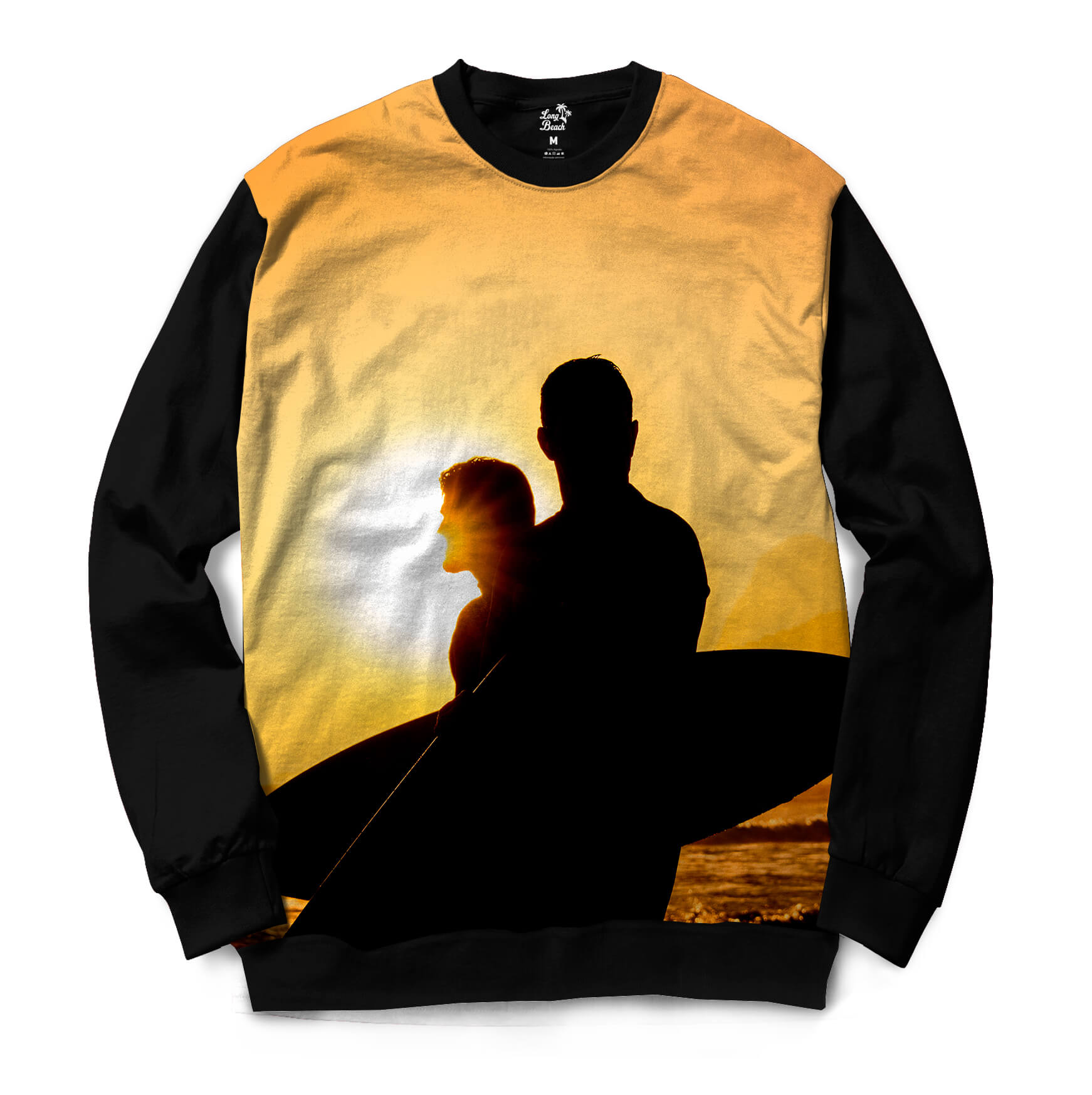 Moletom Gola Careca Long Beach LB Sol Full Print Amarelo