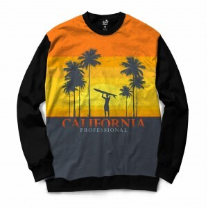 Moletom Gola Careca BSC California Surfista Sublimada Amarelo