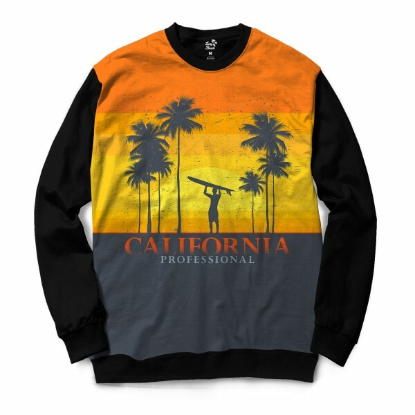 Moletom Gola Careca Long Beach California Surfista Full Print Amarelo