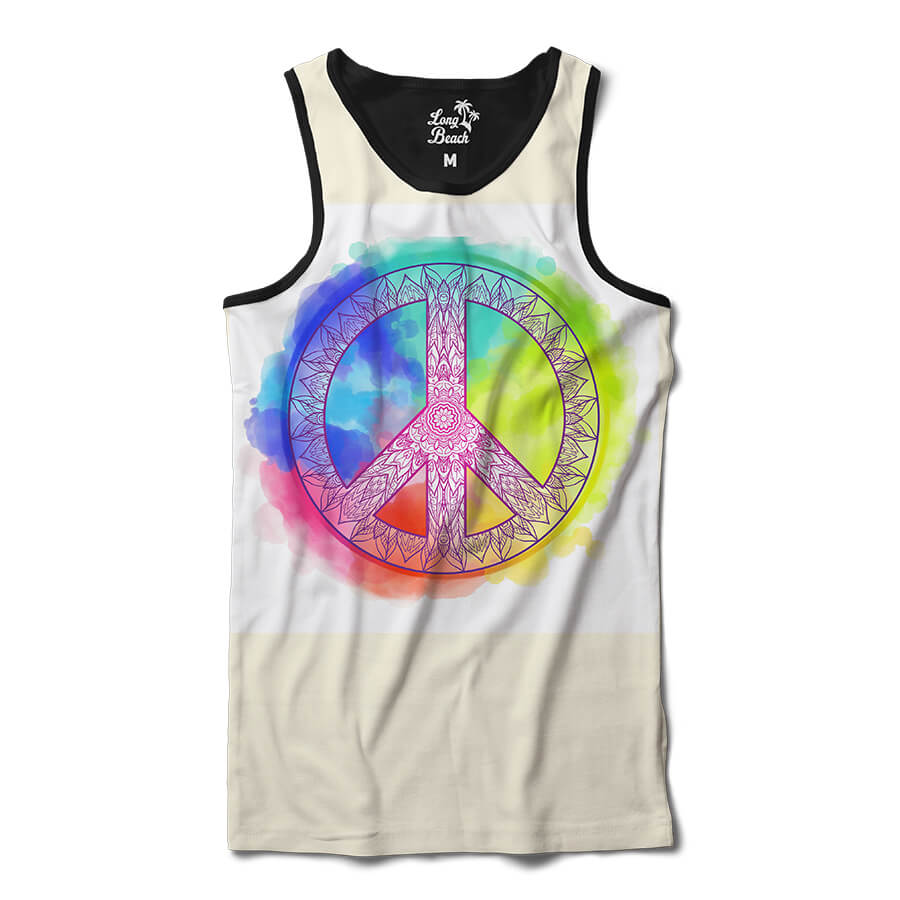 Camiseta Regata Long Beach Simbolo da Paz Mandala Aquarela Full Print Branco