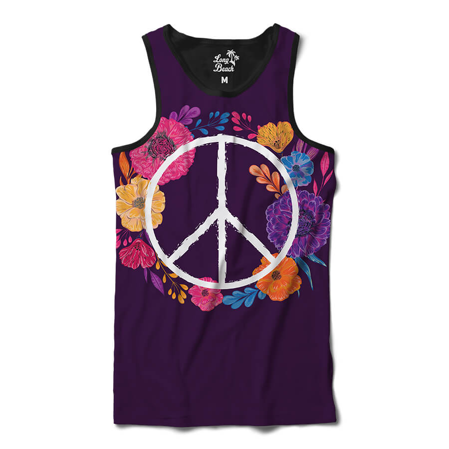 Camiseta Regata Long Beach Simbolo da Paz Florido Full Print Roxo Fosco