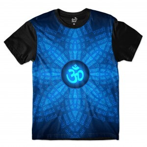 Camiseta Long Beach Ohm Escritura Hindu Full Print Azul