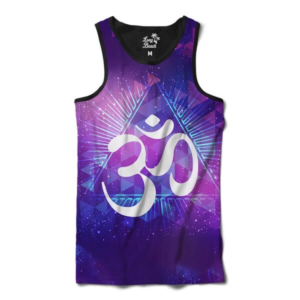 Camiseta Regata Long Beach Ohm Triângulos Full Print Roxo Brilho