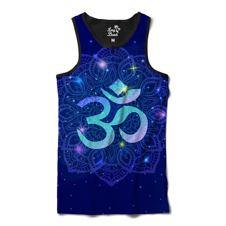 Camiseta Regata Long Beach Ohm Mandala Florida Full Print Azul