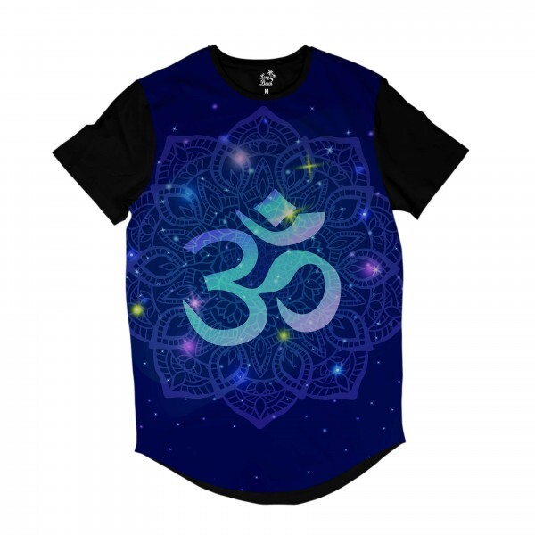 Camiseta Longline Long Beach Ohm Mandala Florida Full Print Azul