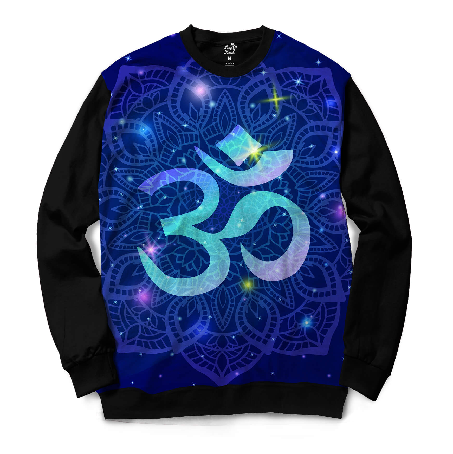 Moletom Gola Careca Long Beach Ohm Mandala Florida Full Print Azul