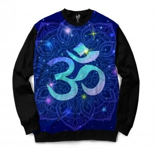 5b950ef34e8c4 Moletom Gola Careca Long Beach Ohm Mandala Florida Full Print Azul