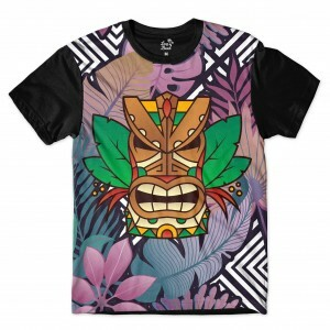 Camiseta Long Beach Totem Floral Guerreiro Full Print Colors
