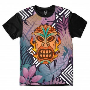 Camiseta Long Beach Totem Floral Fogo Full Print Colors