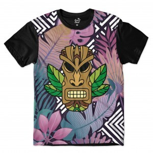 Camiseta Long Beach Totem Floral Guardião Full Print Colors