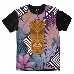 Camiseta Long Beach Totem Floral Atenção Full Print Colors