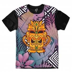 Camiseta Long Beach Totem Floral Ouro Full Print Colors