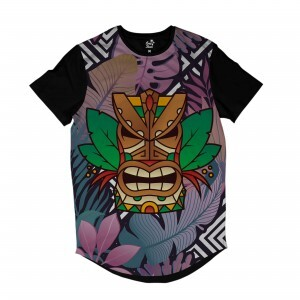 Camiseta Longline Long Beach Totem Floral Guerreiro Full Print Colors