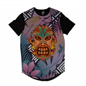 Camiseta Longline Long Beach Totem Floral Fogo Full Print Colors