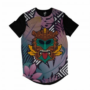 Camiseta Longline Long Beach Totem Floral Natureza Full Print Colors