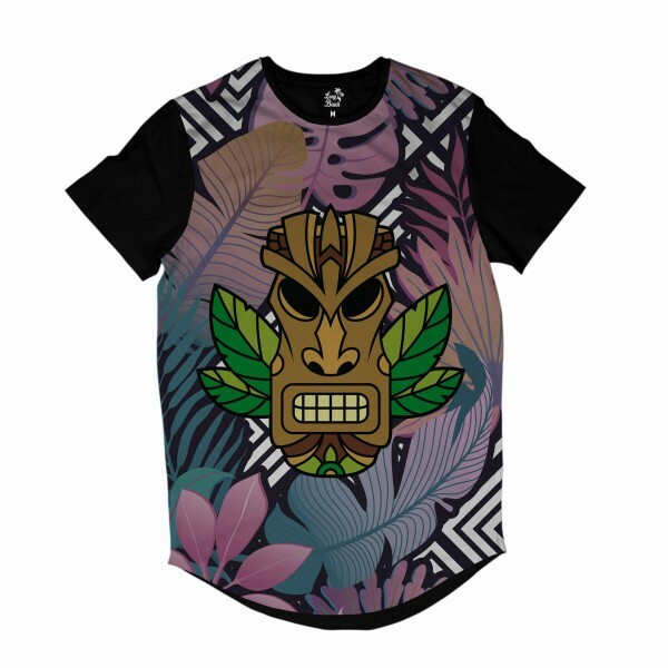 Camiseta Longline Long Beach Totem Floral Guardião Full Print Colors