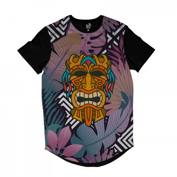 Camiseta Longline Long Beach Totem Floral Folião Full Print Colors