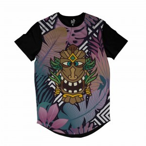 Camiseta Longline Long Beach Totem Floral Alquimista Full Print Colors