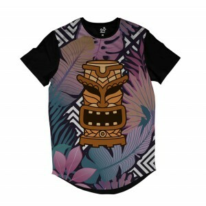 Camiseta Longline Long Beach Totem Floral Torre Full Print Colors