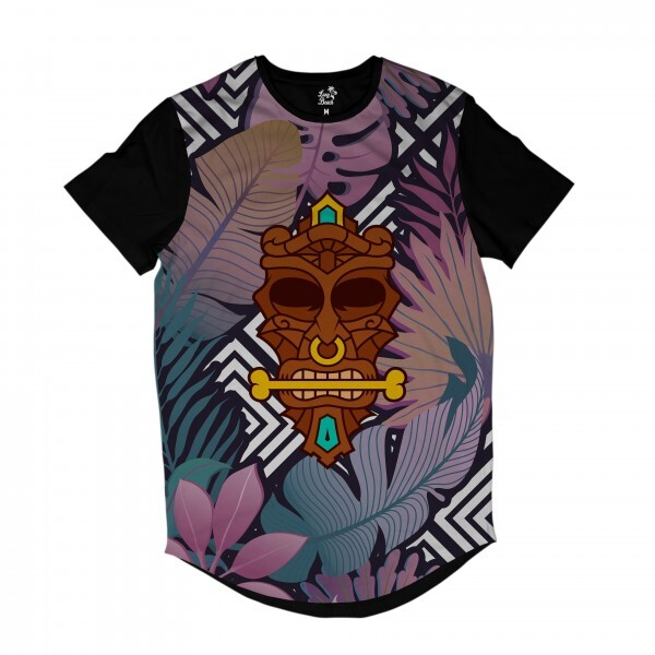 Camiseta Longline BSC Totem Floral Canibal Sublimada Colors