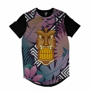 Camiseta Longline Long Beach Totem Floral Caça Full Print Colors