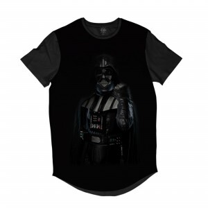 Camiseta Longline BSC Star Wars Darth Vader Mão Levantada Sublimada Preto