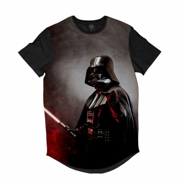 Camiseta Longline Insane 10 Star Wars Darth Vader com Sabre de Luz Full Print Cinza