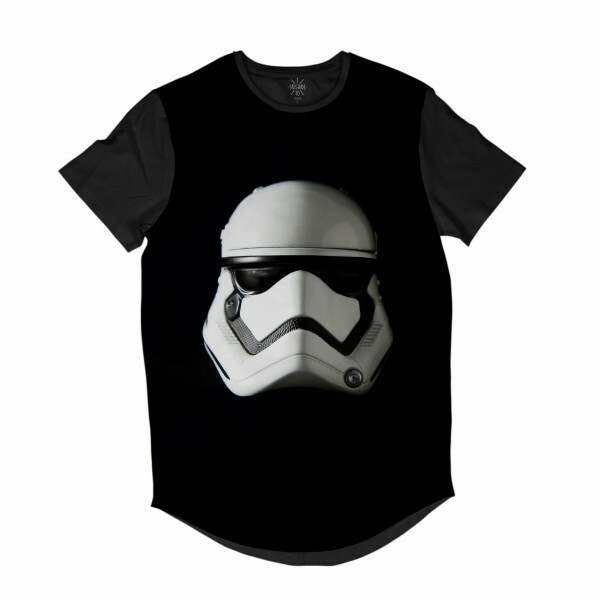 Camiseta Longline Insane 10 Star Wars Máscara Stormtrooper Full Print Preto