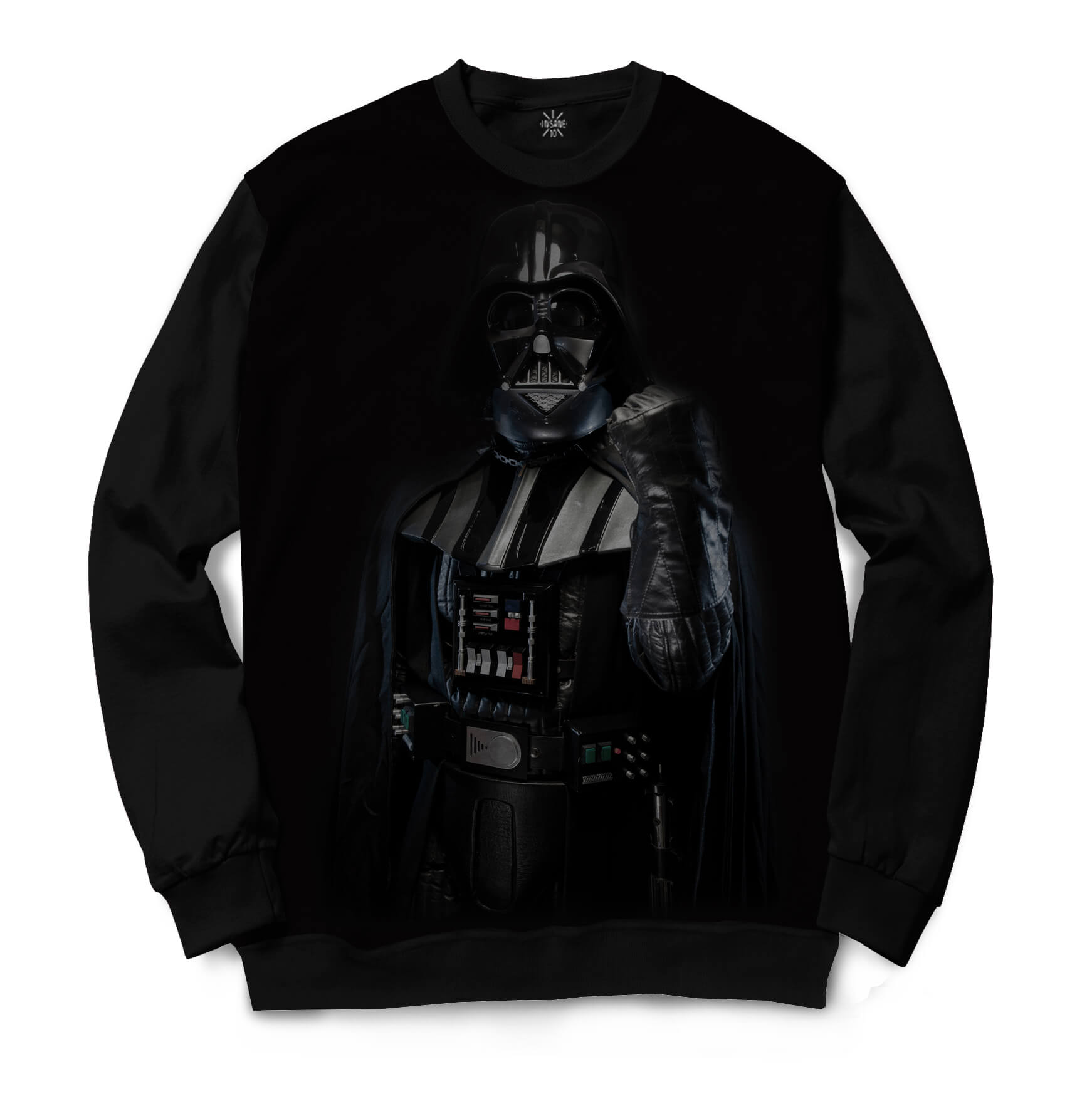 Moletom Gola Careca Insane 10 Star Wars Darth Vader Mão Levantada Full Print Preto