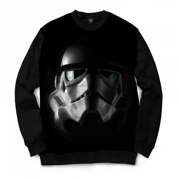 Moletom Gola Careca Insane 10 Star Wars Máscara Stormtrooper Lente Verde Full Print Preto