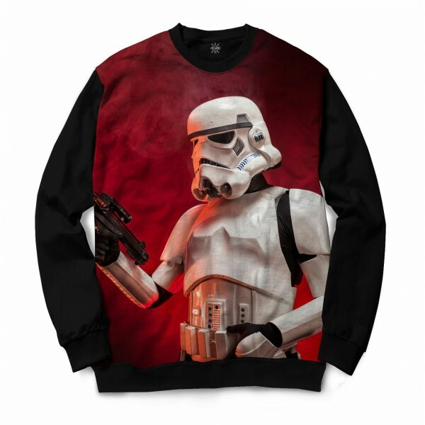 Moletom Gola Careca Insane 10 Star Wars Stormtrooper Full Print Vermelho
