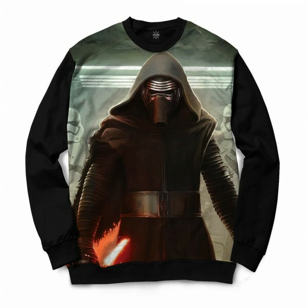Moletom Gola Careca Insane 10 Star Wars Kylo Ren Atacando Full Print Cinza