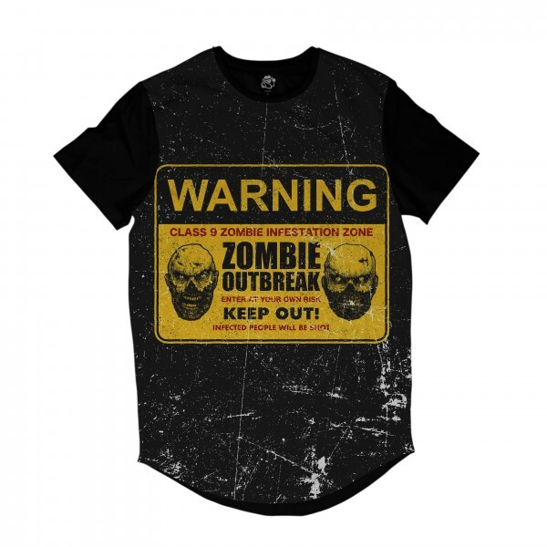 Camiseta Longline BSC Zombies Zona infectada 5 Sublimada Preto