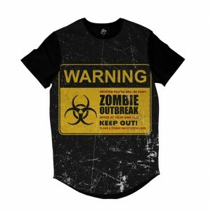 Camiseta Longline BSC Zombies Zona infectada 6 Sublimada Preto