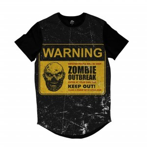 Camiseta Longline BSC Zombies Zona infectada 7 Sublimada Preto