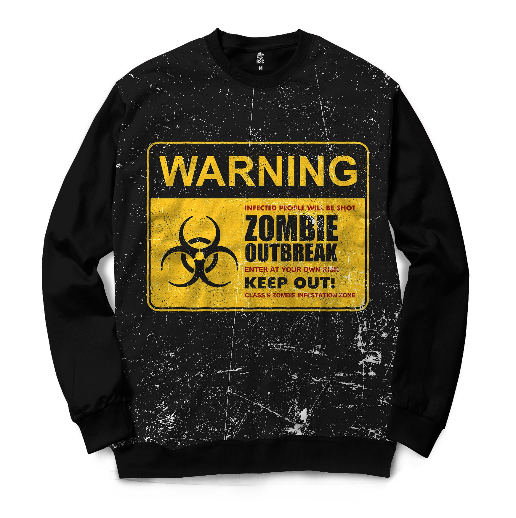 Moletom Gola Careca BSC Zombies Zona infectada 6 Full Print Preto