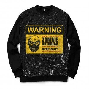Moletom Gola Careca BSC Zombies Zona infectada 7 Sublimada Preto