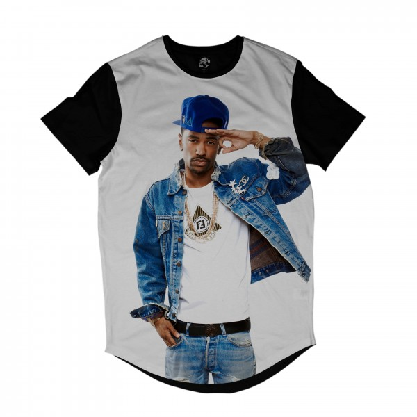 Camiseta Longline BSC Rappers Big Sean OG Full Print Branco / Preto