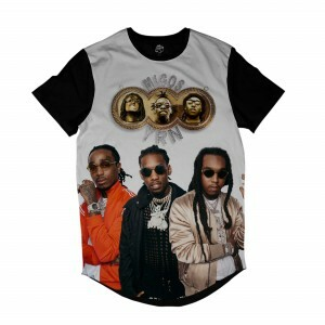 Camiseta Longline BSC Rappers Migos YRN Sublimada Colors