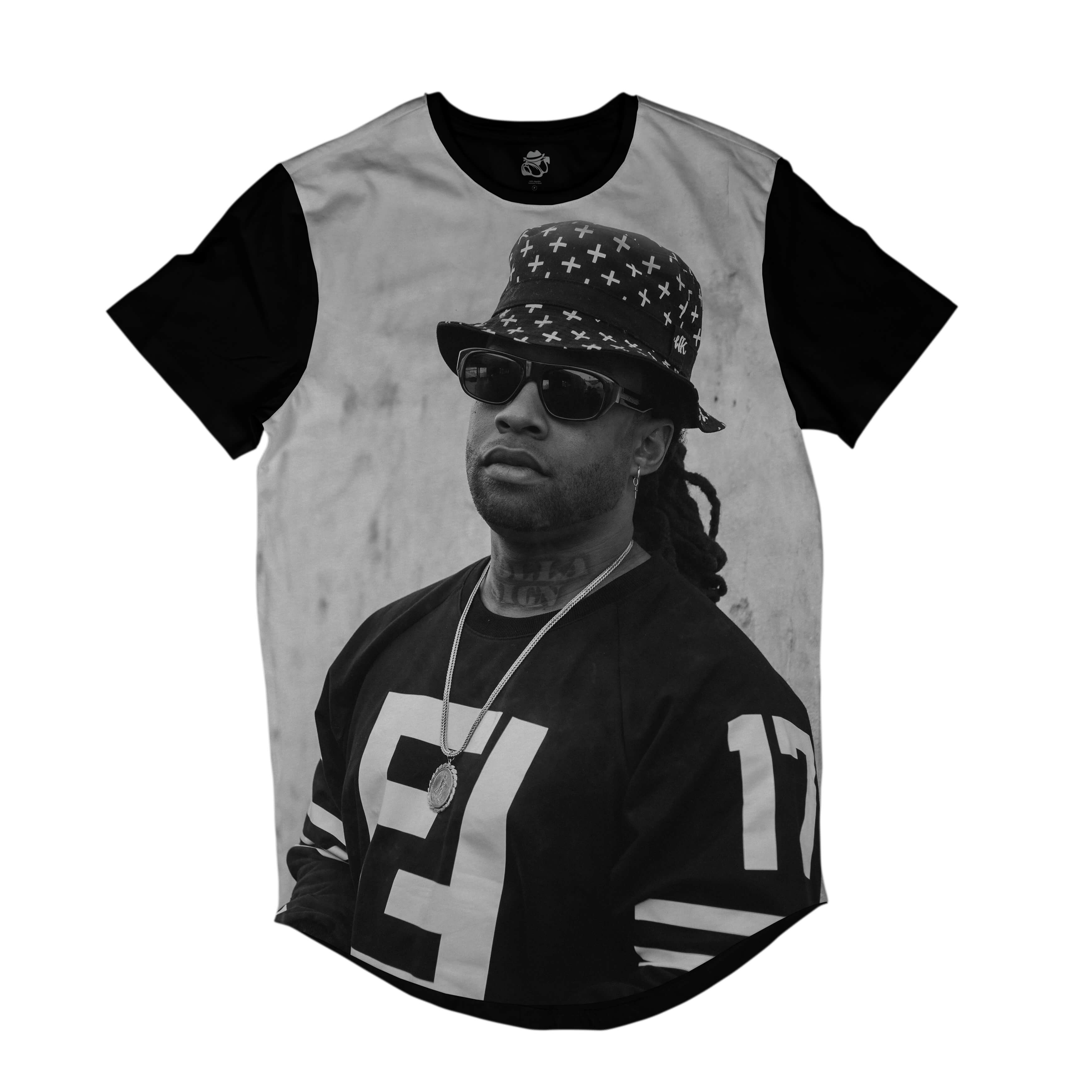 Camiseta Longline BSC Rappers Ty$ Sublimada Cinza