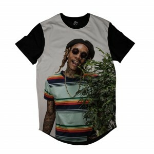 Camiseta Longline BSC Rappers Wiz Khalifa Marijuana Full Print Colors