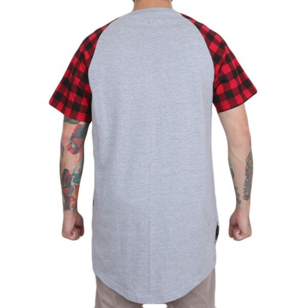 Camiseta BLVD Supply Tree Plaid Scalloped Cinza