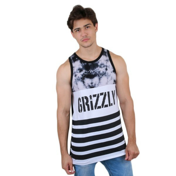 Camiseta Grizzly GripTape Regata Great Divide Preto/Branco
